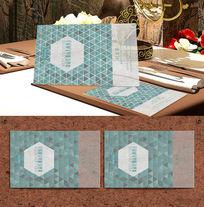 湖蓝三角商务透明名片模板