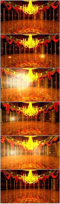 金碧辉煌宫殿婚庆视频LED屏幕背景素材
