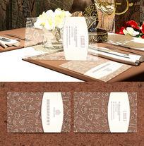 冷饮快餐西餐厅透明名片设计 EPS