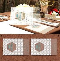 三角花纹商务透明名片设计