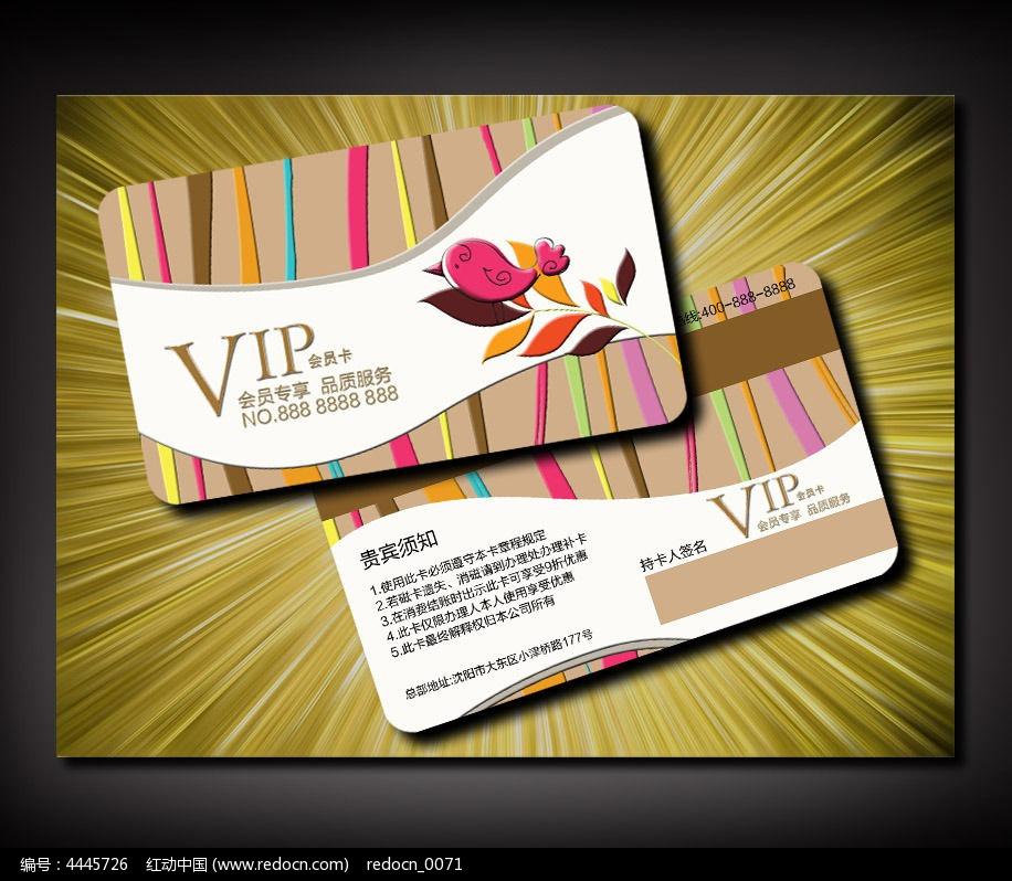 时尚可爱小鸟VIP卡设计图片