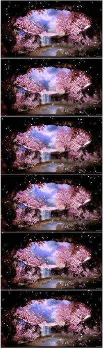 桃花流水花瓣飞舞LED舞台背景视频