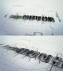 建筑蓝图绘制logo标志演绎ae模板