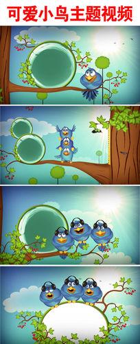 卡通小鸟树枝上听歌动画视频素材
