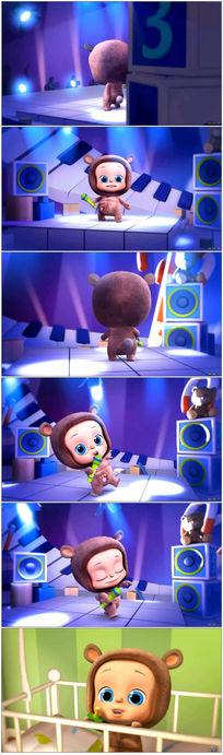 可爱娃娃唱歌背景视频素材