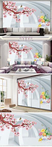 粉色唯美花朵3D电视背景墙