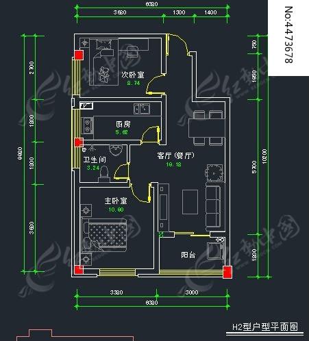 两室一厅cad平面图dwg素材下载
