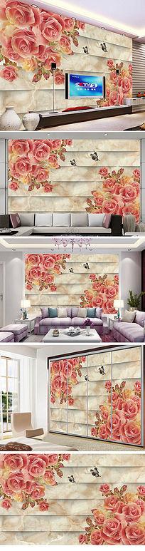 奢华欧式石材电视沙发背景墙
