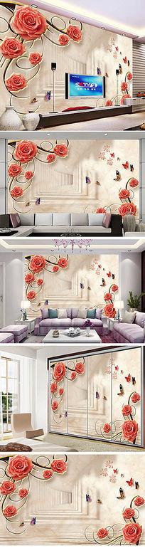 浪漫奢华欧式石材电视背景墙