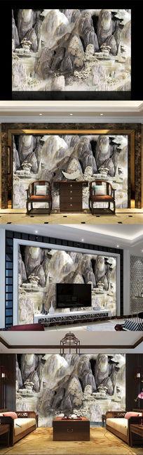 玉雕山石酒店大堂背景墙