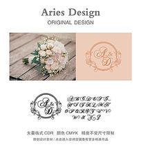 婚礼英文字体模板CDR欧式复古镜框 CDR