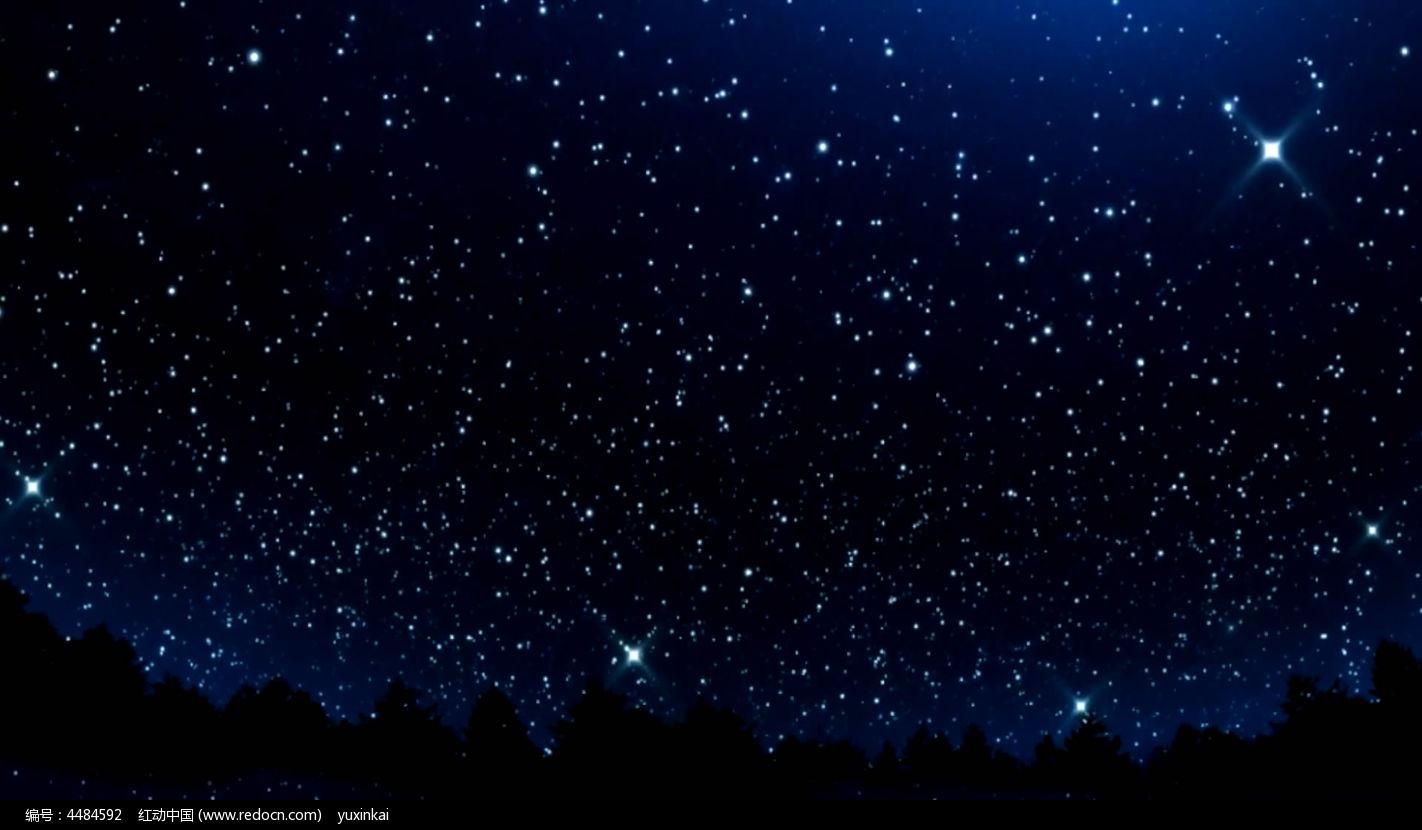 视频背景_蓝色静谧星空视频背景素材