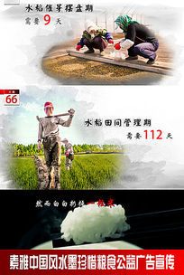 素雅中国风水墨珍惜粮食公益广告宣传图片