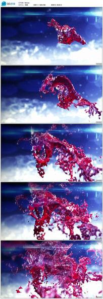 血色红色墨水飞溅喷洒效果视频