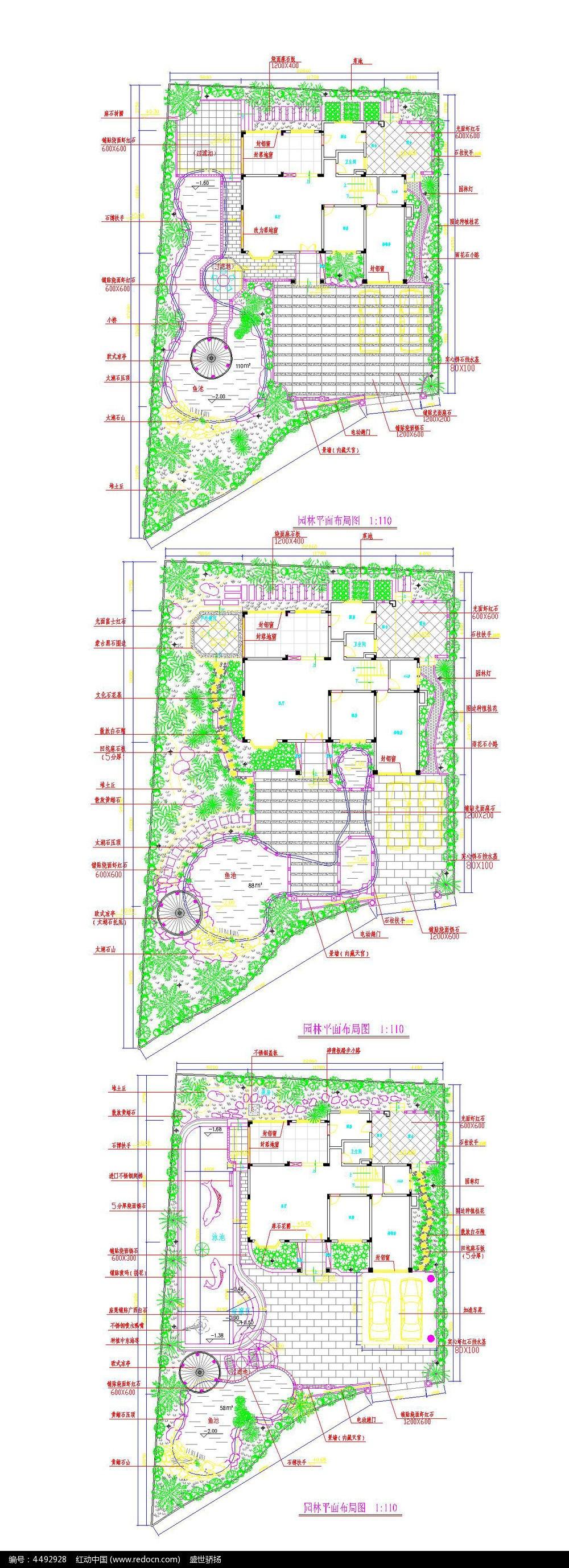别墅景观cad平面布局设计