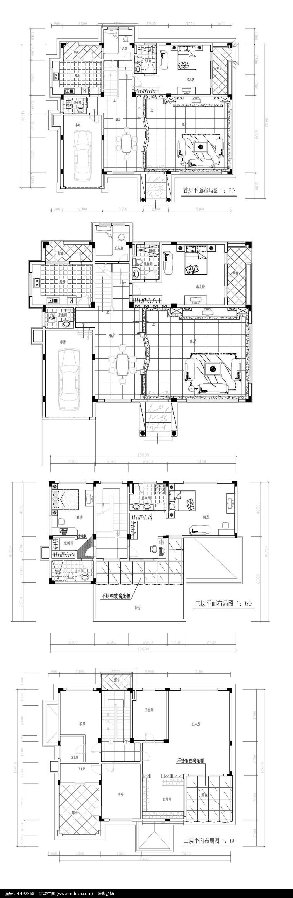 纸图设计 复式别墅设计图 复式家居设计 别墅施工图纸 CAD图库