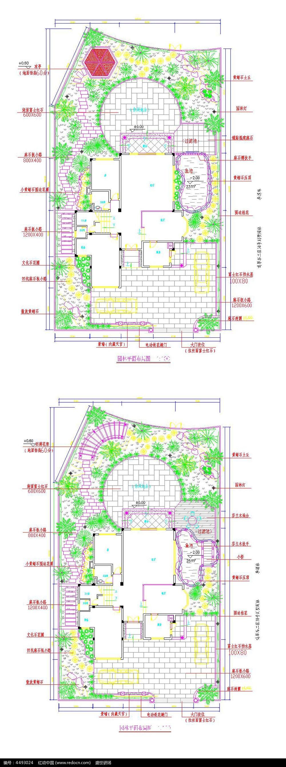 别墅庭院景观设计cad图纸