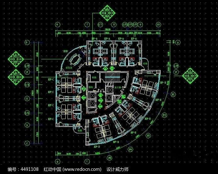饭店cad平面布局图