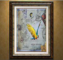 复古欧式小鸟装饰画设计