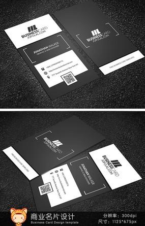 黑白经典创意名片设计 PSD
