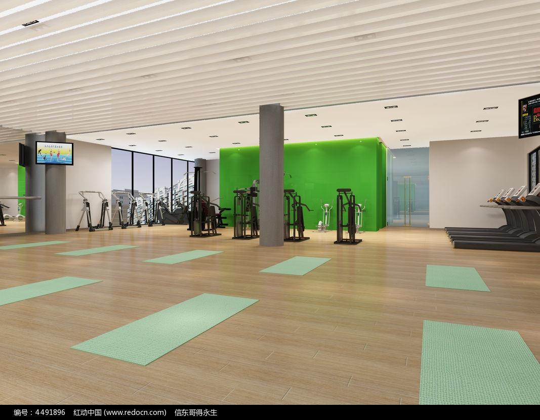 健身房瑜伽区3d模型下载图片