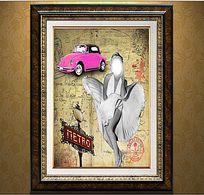 欧美复古美女汽车装饰画