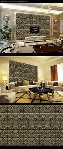 欧式花纹方块卧室背景墙