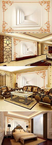 欧式立体空间电视背景墙