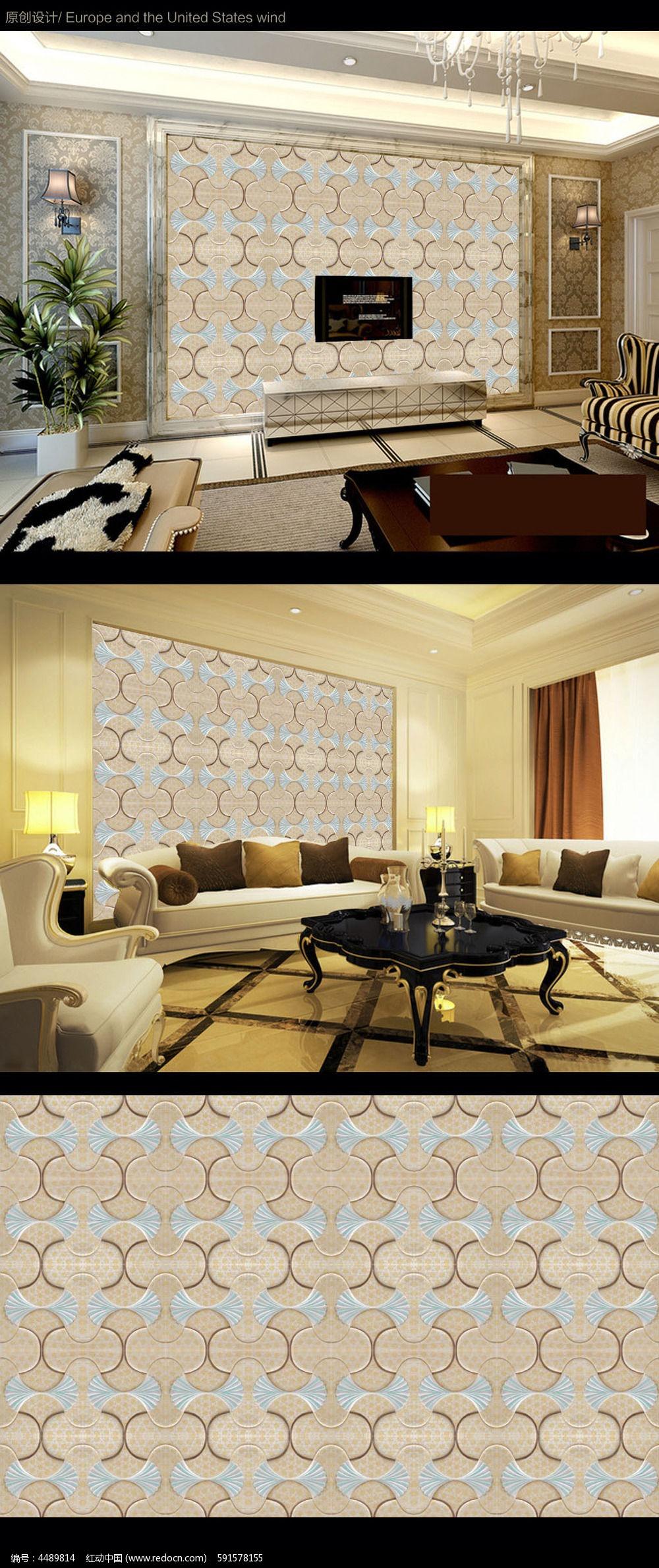 欧式简约大理石电视背景墙设计下载