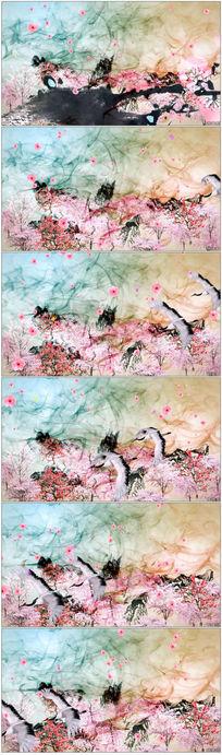 水墨仙境仙鹤风景视频