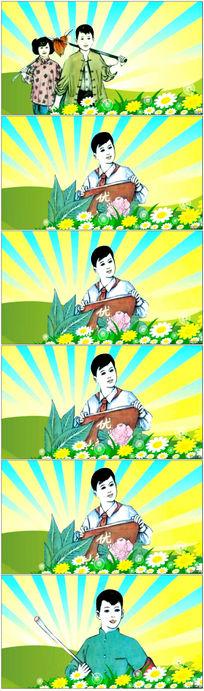 卡通革命少年少先队员LED视频素材