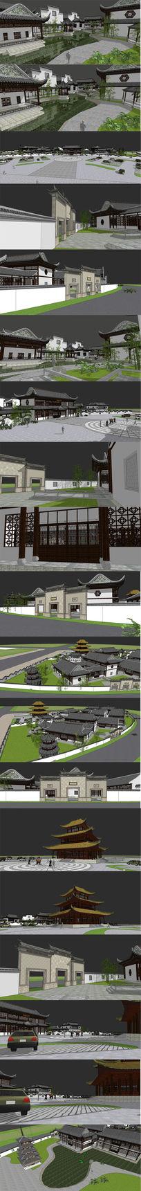中式古典小岛会所群建筑SU设计