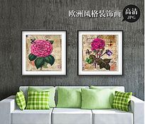 复古花朵客厅装饰画设计