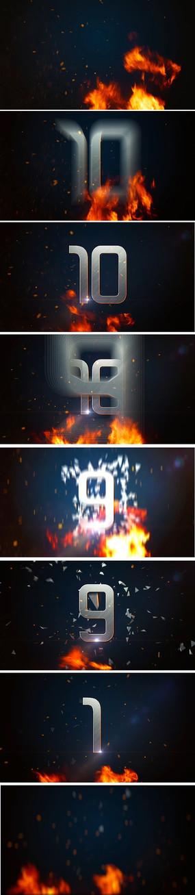 火焰金属字10倒计时视频