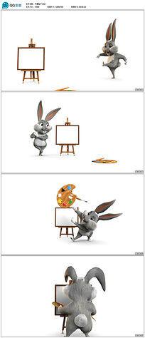 三维卡通兔子绘画高清视频