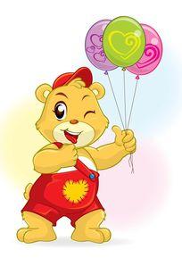 游乐场手拉气球的小熊矢量素材