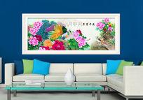 中式孔雀牡丹报喜鸟装饰画