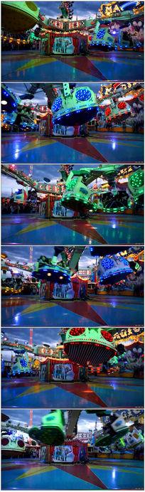 欢乐的游乐园夜晚光亮闪烁视频素材