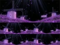 紫色薰衣草风车裸眼3D全息婚礼背景视频