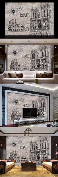 抽象欧式建筑古典背景墙