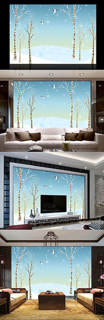 抽象树林小鸟背景墙