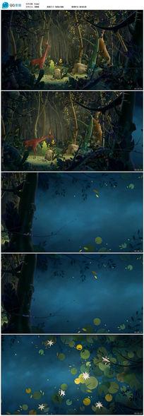 卡通森林动物世界视频素材