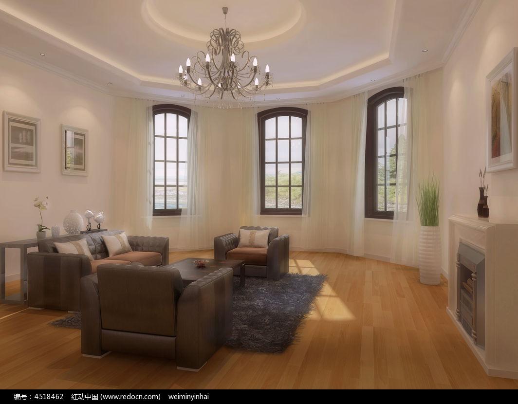 欧式客厅窗户3d模型下载