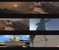 中国标志建筑长城华表日晷视频素材