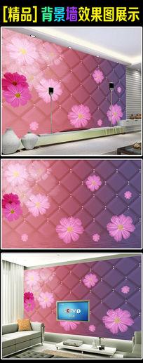 3D软包花卉电视背景墙壁纸壁画