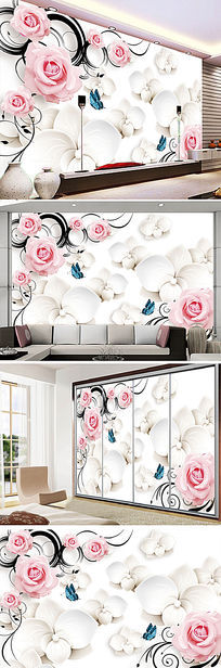 粉色玫瑰3D电视背景墙