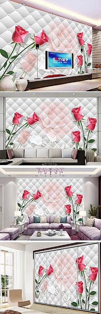 客厅3D仿软包玫瑰花纹电视背景墙图片