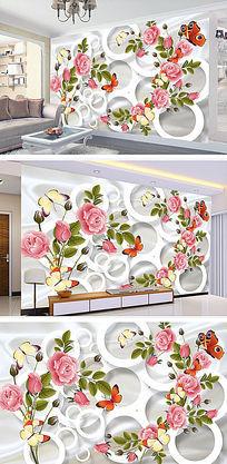 玫瑰花纹花蕾现代装饰3D背景墙