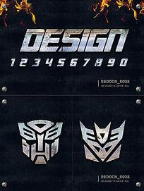 变形金刚金属字体效果 PSD