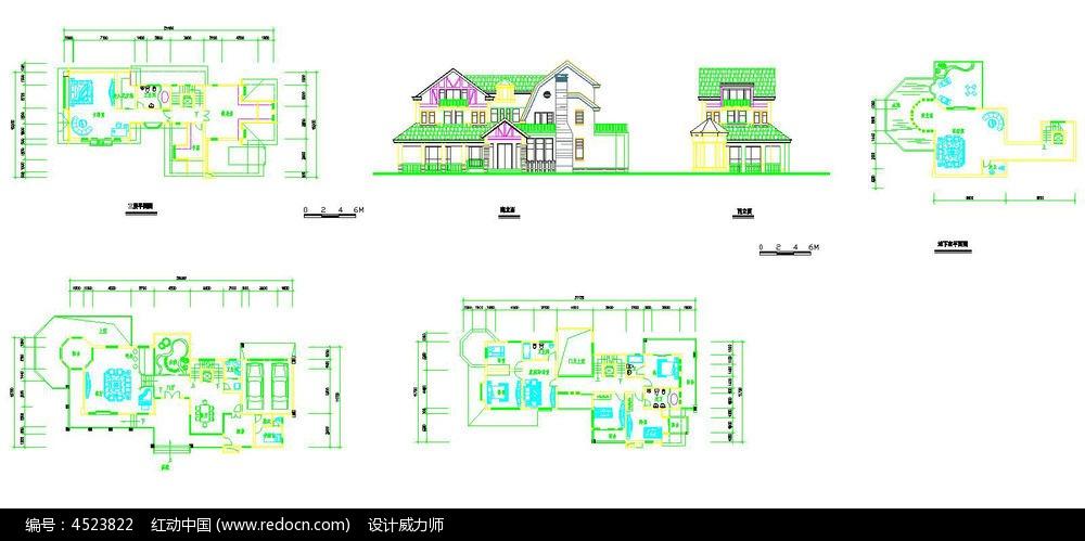 别墅立面平面cad设计图